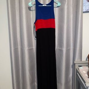 Blue, red, and black maxi dress